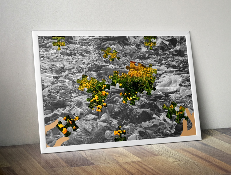 Poster_puzzles puzzles health grass nylon plastics conscience thinking trash conservation nature frames poster flowers colors black and white hand land landfill illustration design