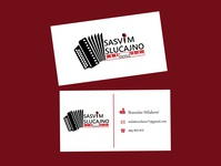 Business card - Music player business card design card design line music player icons white black red clavier accordion microphone illustration music band music