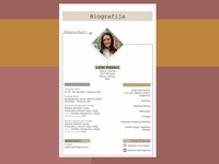 Biography resume written overview template rectangle lines colors page layout page design biography
