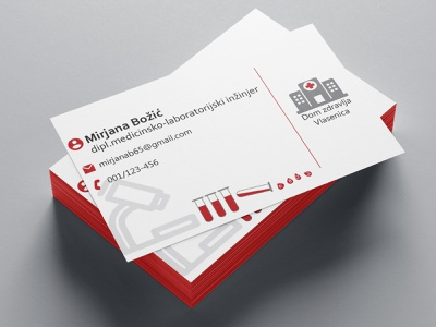 Business card_Lab technician icons gruop - o ab b hospital grey tecnician laboratory microscope test tubes blood red lines illustration design