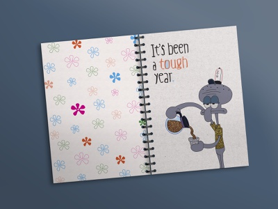 Notebook_Octopus boring tough year coffee draw movie flowers colors design cover illustration design illustration front and back cover design spongebob octopus