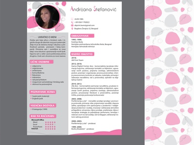 CV rectangle round education computer languages work experience black gray pink concept colors font lines page layout cv design cv template