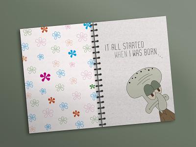 Notebook_cover-Lignjoslav text funny irony sponge bob lignjoslav cover notebook graphic design colors illustration design