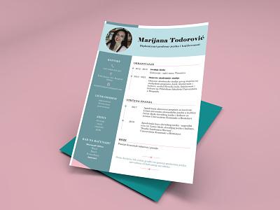 CV language job photo graphic design cv page layout green font colors lines design