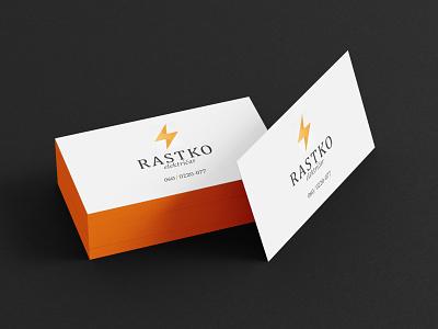Business card font orange electricity worker name logo graphic design design business card