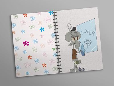 Notebook_Loser draw cleaning glass loser lignjoslav sponge bob flowers notebook design cover design notebook colors font lines illustration design