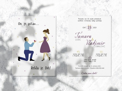 Wedding invitation_She said YES! filings wedding ring date special day wedding day page layout violet blue fonts suit dress she said yes he asked colors hearts lines design illustration