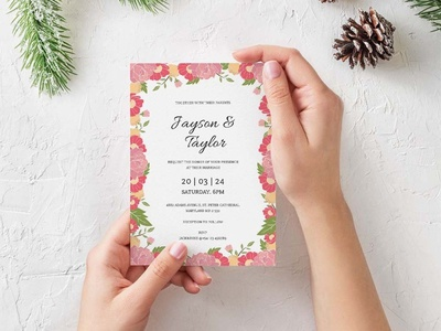 Vintage Flower Wedding Invitation Template design wedding stationery wedding set weddings wedding invitation wedding design wedding printable print free