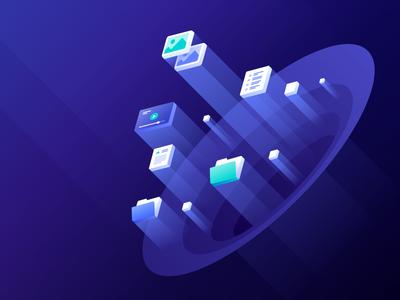 Spaces Hero Illustration cloud droplets servers object storage spaces digitalocean