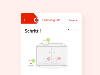 Guide card hand guide red vodafone illustration router mobile design app