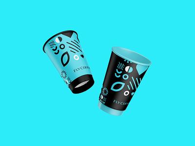 FlyCoffee pattern logotype retail identity coffeeshop coffee cup coffee branding design brand design branding logo