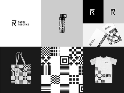 RapidRobotics™ logo design logotype branding design elegant blackandwhite identity design rapid binary code automatic robotics robot brand design brand identity logo brand