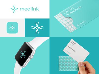 Medlink cross crest grid pattern business card watch corporate identity link pharmacy medicine medical identity design brand design brand logo