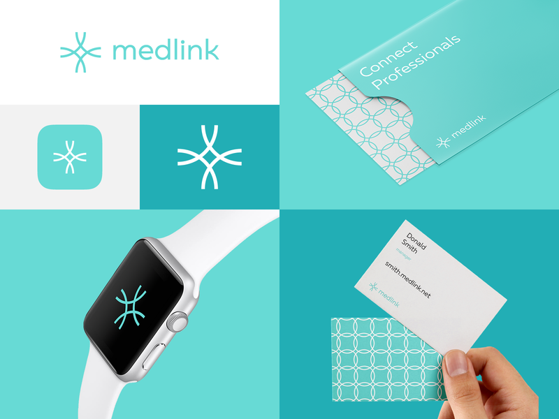 Medlink cross crest grid pattern business card watch corporate identity link pharmacy medicine medical identity design brand design brand logo