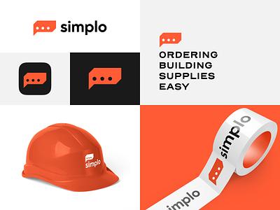 Simplo logo design easy chat bubble speech brand identity simple b2b service order supply orange construction build brick logotype identity brand logo