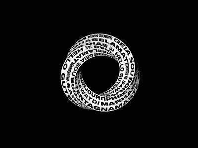 Hello! design motion 3d art moebius loop infinite hello ring animation 3d
