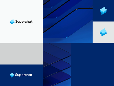 Superchat layer lightning icon chat app online blue app super branding concept animation message chat branding and identity branding