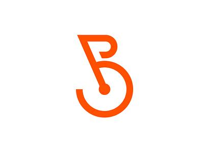 Bicicleteria handle wheel store branding logo orange ride bicycle letter b bike