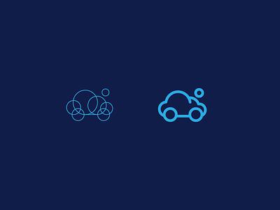 Car wash app logo for sale search bubble circle water cloud wash car app icon design logo