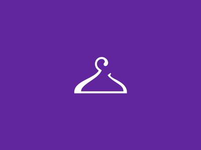 Elegant ecommerce hook rack hanger letter e apparel clothing design logo