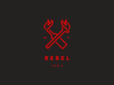 Rebel clothing bottle riot fire torch rebel brand design logo