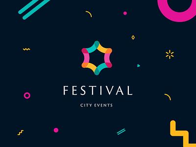 Festival bright company city festival event brand design logo