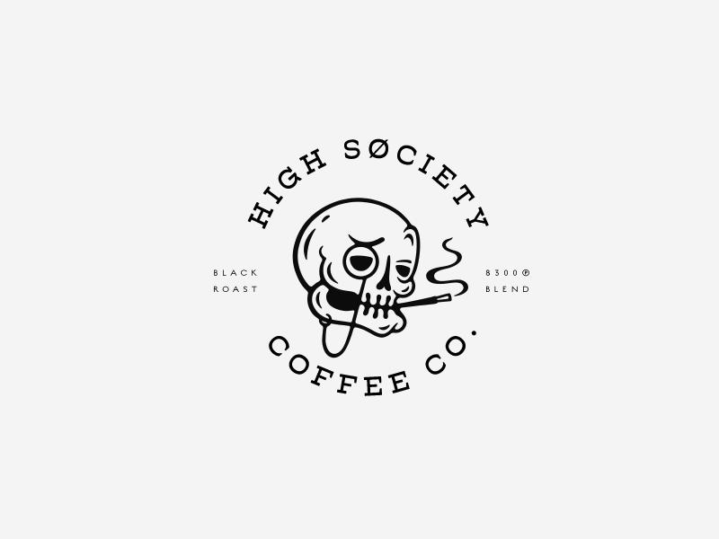 High Søciety Coffee Co. roast smoke society high coffee skull brand design logo