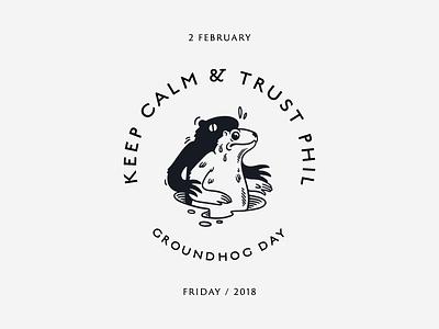 Groundhog Day bage illustration shadow animal february day groundhog
