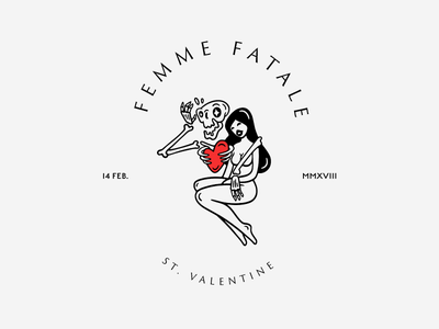 Happy Valentine's Day! fatale femme woman skull heart love day valentine bage