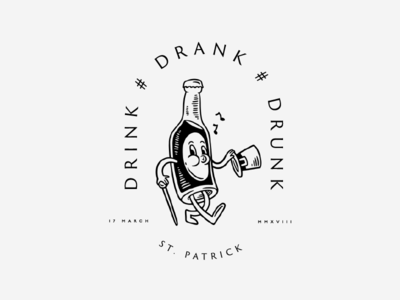 Drink # Drank # Drunk design hat green drink patrick irish bottle crest bage logo
