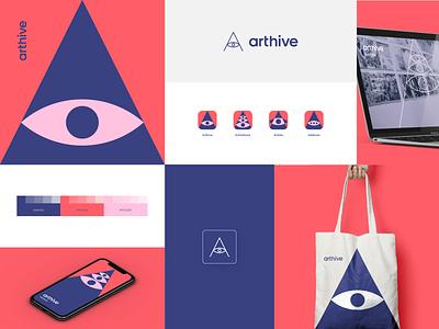 Arthive #2 modern artist exhibition gallery art eye app branding icon design brand logo