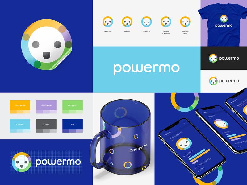 Powermo logotype diagram service future electricity smile socket power branding identity icon design brand logo