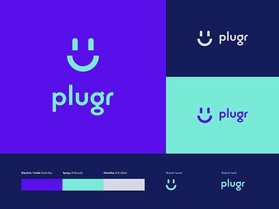 Plugr logo design brand socket plug electricity service smile consumption smart home identity colors style brandbook