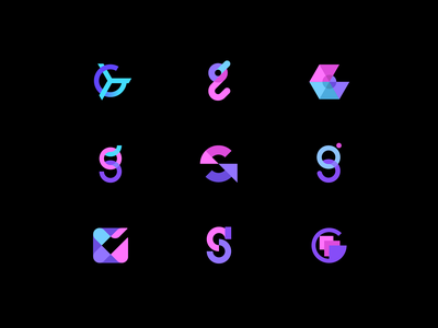 Brandmark exploration alphabet letter g digital app angle modern blue violet circle round corporate identity branding identity brand geometric letter g sketch design logo
