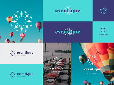 Eventique logo design brandbook guide circle agency balloon star spark fireworks brand identity branding agency branding design company plan fun joy event design brand logo