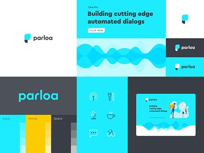 Parloa identity branding concept branding agency brand design sound automation dialog voice assistant voice chat chat app chatbot branding design brand logo