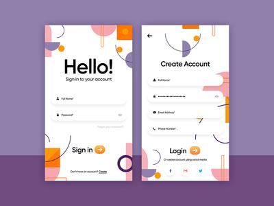 Login Screen Web/Mob Ui Design