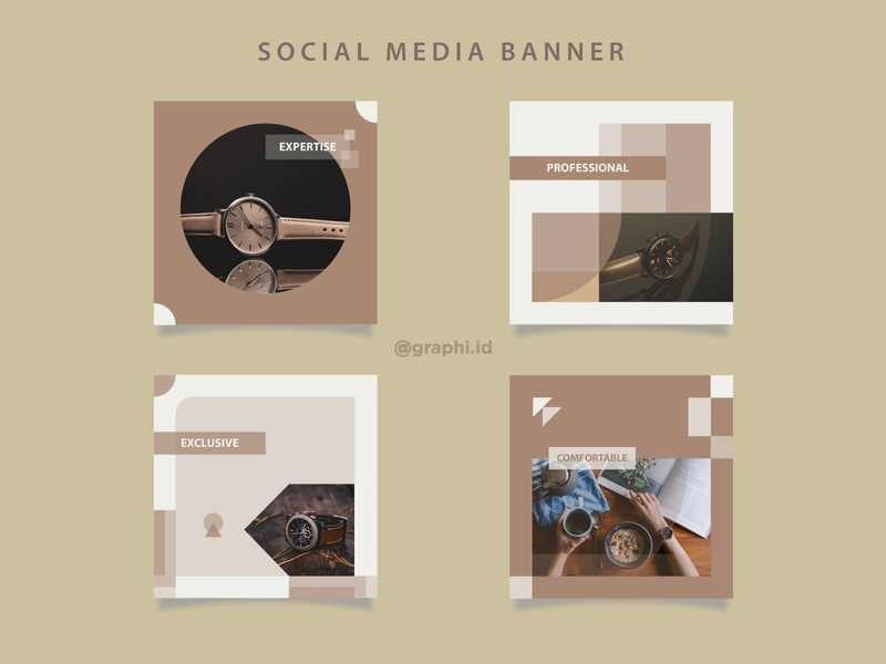 Minimalist social media banner wooden instagram template instagram banner instagram post vector design freelancer illustration flat design branding watch minimalist modern