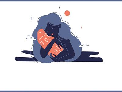 девочка с домиком vector 2d art adobe photoshop illustration uidesign