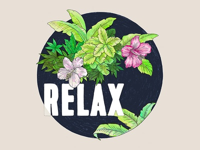 Relax fashion farm fresh hand drawn t-shirts relax water color art tropical typography illustration