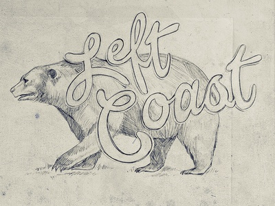Left Coast Bears fashion farm fresh hand drawn t-shirts left coast pencil bears sketch typography freehand