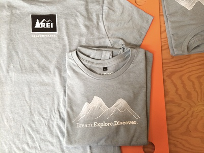 REI Dream. Explore. Discover. fashion farm fresh hand drawn t-shirts dream explore travel discover mountains rei type