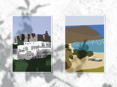 Greek Summer Postcards illustration art experimental design typography illustrator digital illustration graphic design print postcard design postcard greece island patmos