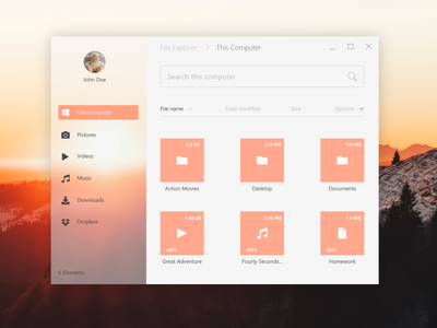 File Explorer 2.0 minimalistic acrylic graphic design ui-design windows 10 file explorer