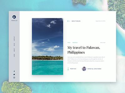 Travel Blog Concept webflow ui uidesign holidays beach island palawan philippines blog design traveling figma website graphic design graphicdesign webdesign travel app inspiration blog
