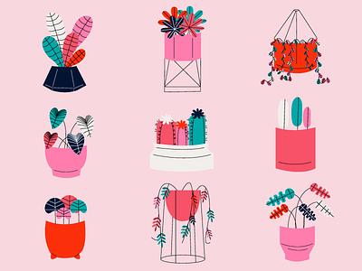 Plant pots love editorial vector design flat illustration