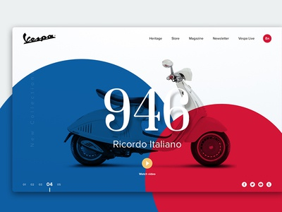 Vespa Concept vespa website slider color ux web design ui