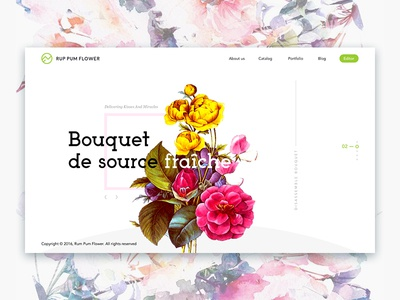 Rum Pum Flowers - web slider watercolor ux clean flowers color web design ui