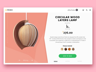 Product card for wooden lamp info ui order wood color design lamp product card