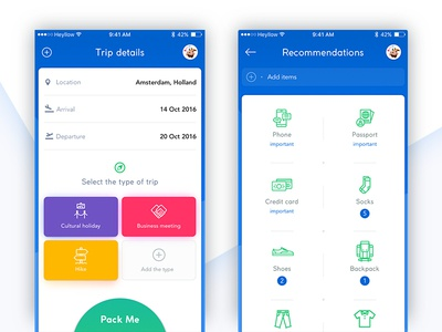 Packing app concept color icons design ios trip clean packing ux ui app